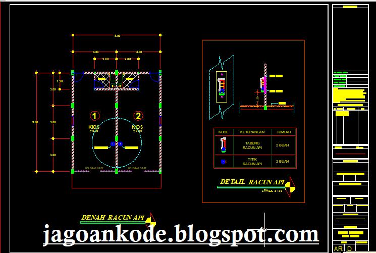 Detail Racun Api Gambar Kerja Autocad File Dwg - Jagoan Kode