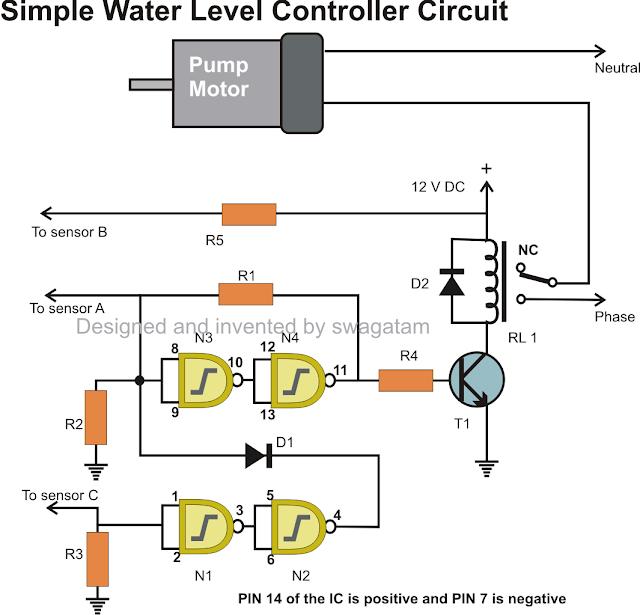 simple water level controller suing IC 4093 logic gates