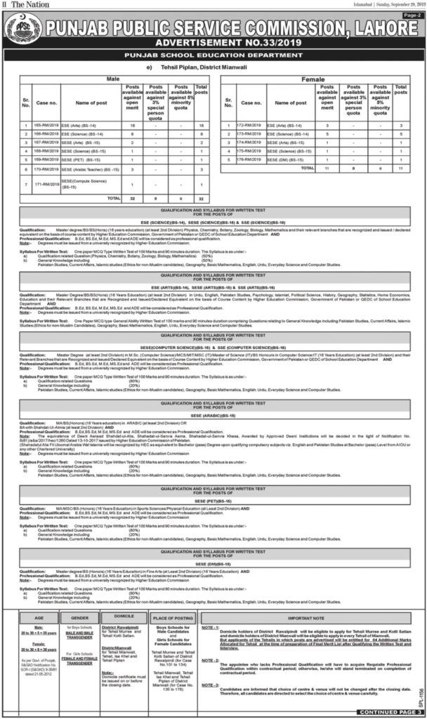 PPSC Educator Jobs October 2019 For ESE, SESE, SSE (779 Posts) – Online Apply