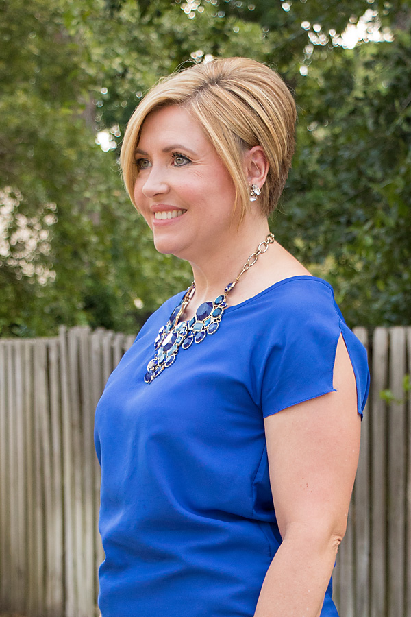 split sleeve cobalt top