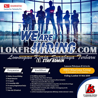 We Are Hiring PT. Kharisma Sentosa Surabaya Terbaru Mei 2019