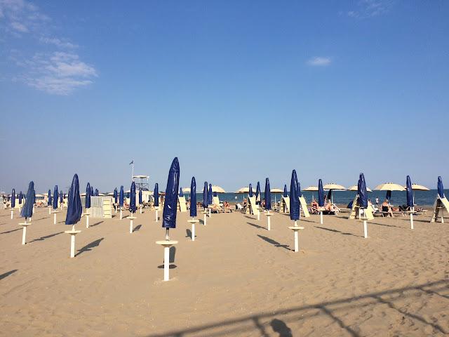 Public beach on Lido, Italy