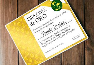 Diploma ORO del Reto Cervecero 2018 #12meses12birras