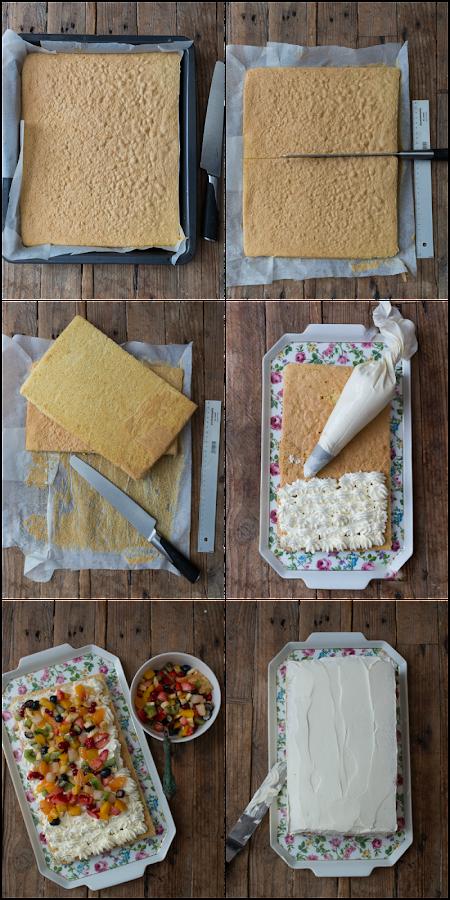 tarta de fruta y crema de queso