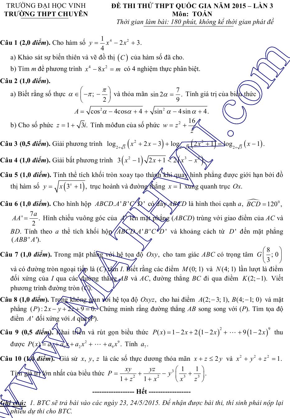 đề thi thử môn toán lần 3 chuyên đại học vinh 2015