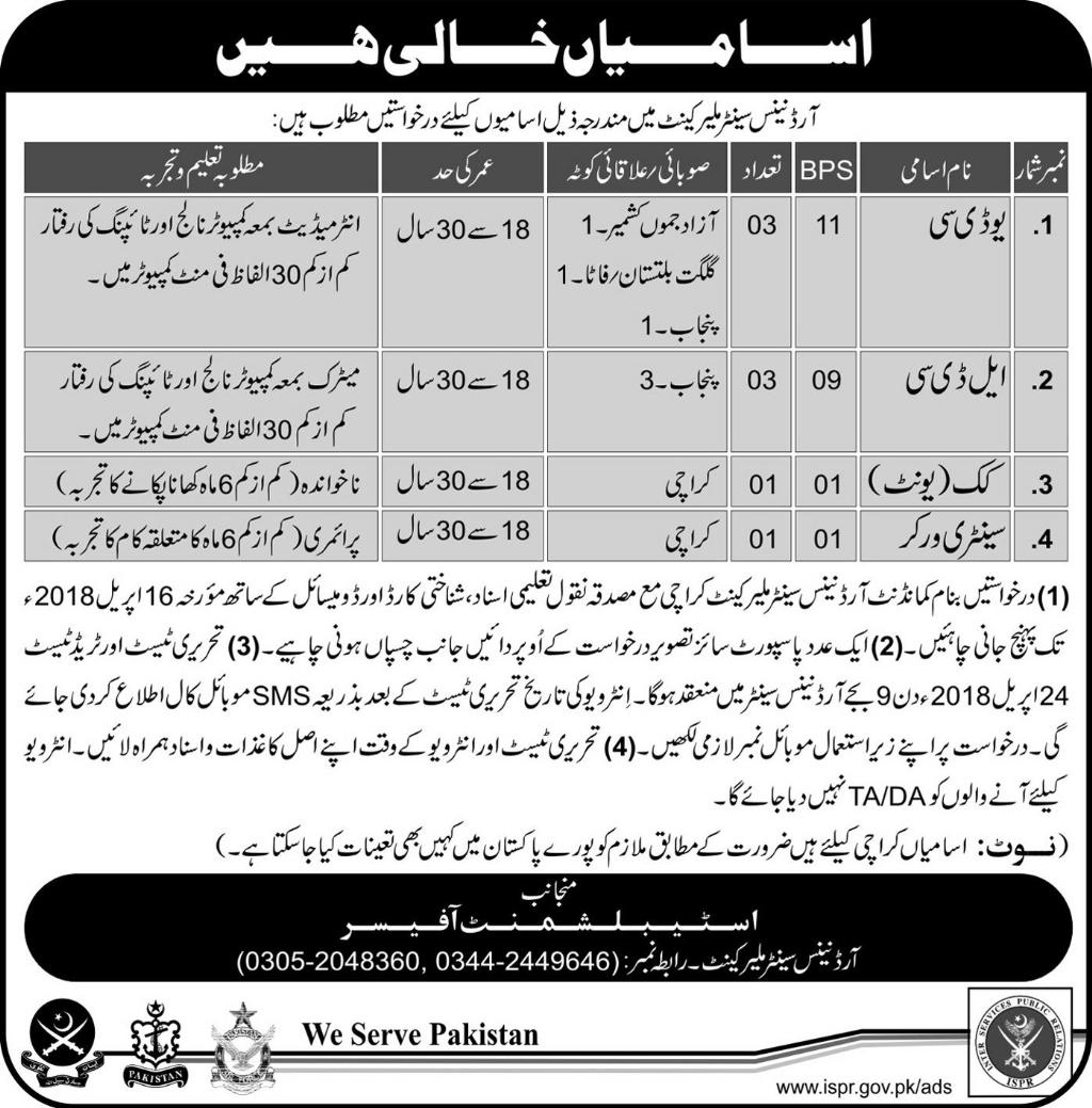 Jobs In Pak Army 2018 at Ordnance Centre Malir Cantt for UDC, LDC and Others