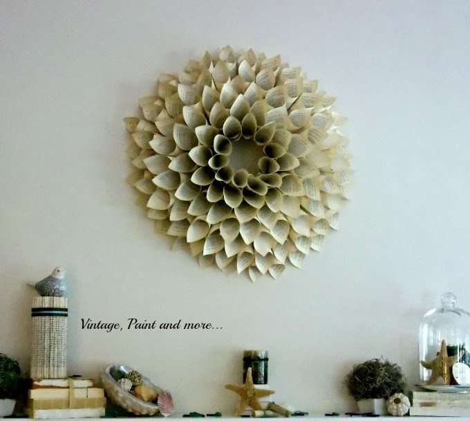 Spring Mantel - book page wreath, book page columns, sea shells