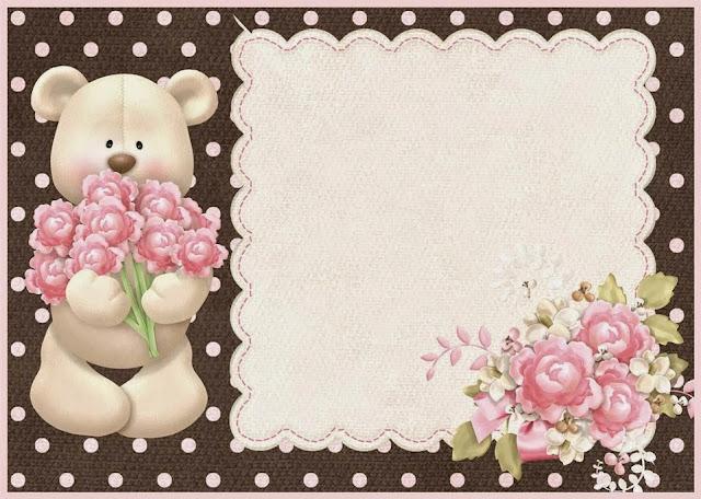 Para hacer invitaciones, tarjetas, marcos de fotos o etiquetas, para imprimir gratis de Osito con Rosas.