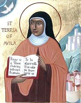 Retrato de Santa Teresa de Avila mostrando un libro