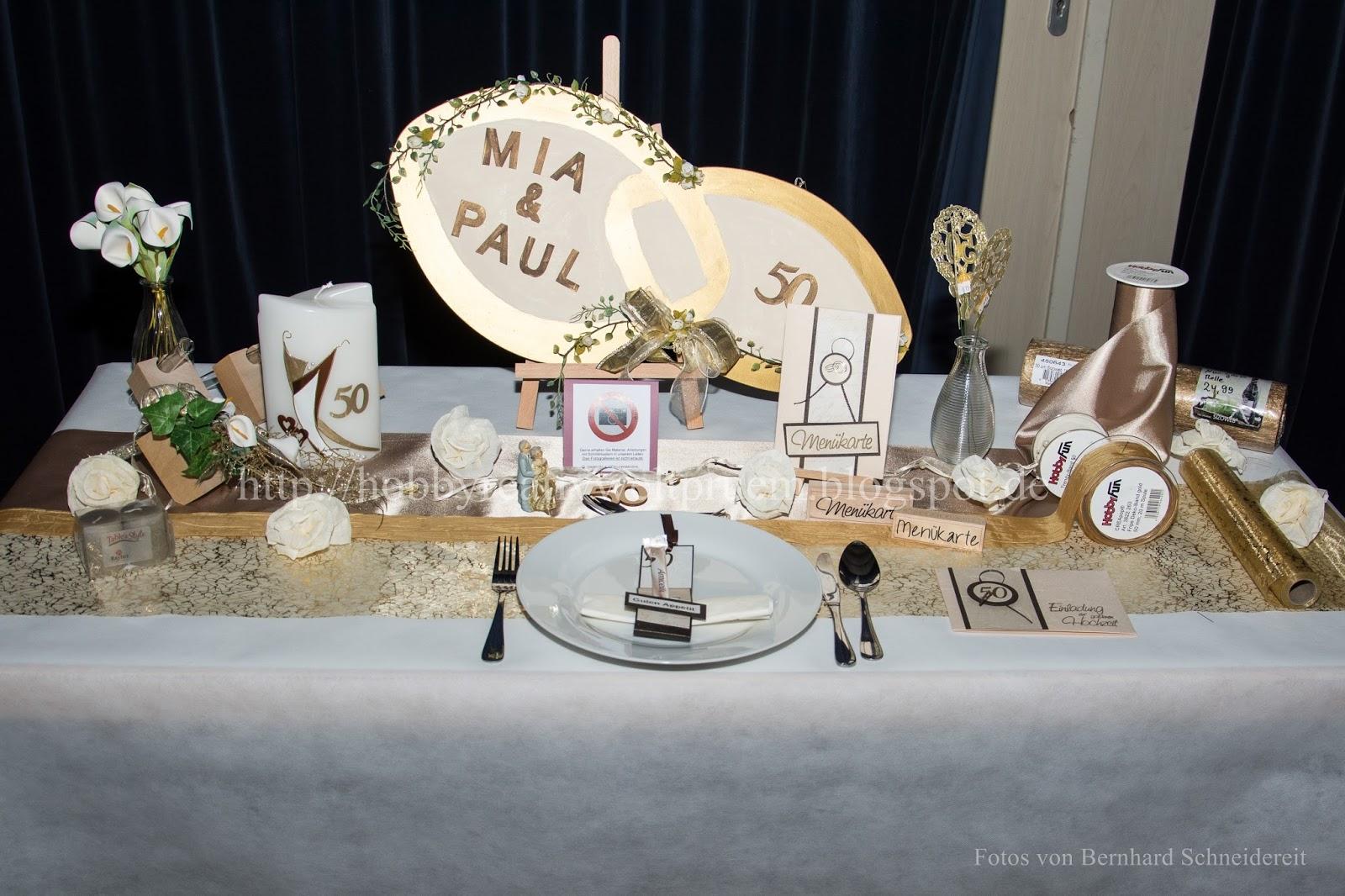 Hobby Kreativ Welt Tischdekoration Goldene Hochzeit