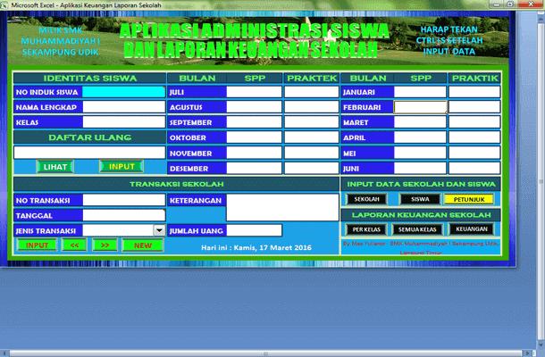 Aplikasi Keuangan Sekolah dan Administrasi Siswa Format Microsoft Excel