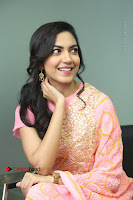 Actress Ritu Varma Pos in Beautiful Pink Anarkali Dress at at Keshava Movie Interview .COM 0254.JPG