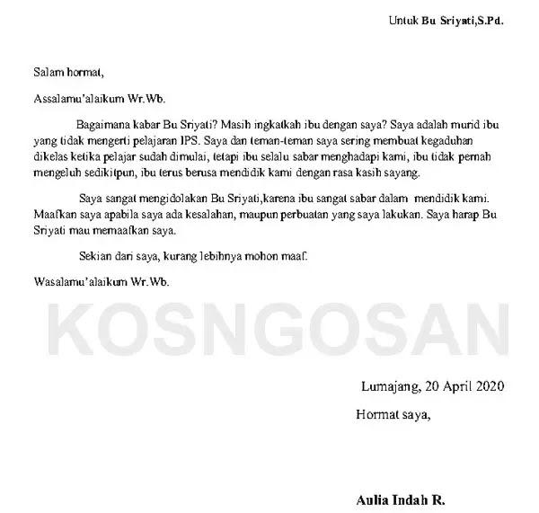 contoh surat tidak resmi