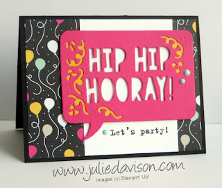 VIDEO Stampin' Up! Party Pop-Up Dies: Hip Hip Hooray Card #stampinup 2016 Occasions Catalog www.juliedavison.com