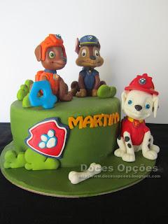 bolo doces opções patrulha pata bragança
