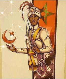 Drawing of Noble Drew Ali holding a scimitar sword and the star in crescent in the other hand with US and Moorish flags behind him.
