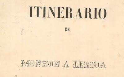 Portada Itinerario Monzón - Lérida 1861