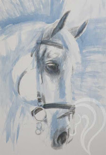Mixed Media painting of a horse, equestrian art, equestrian artist uk