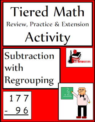Free tiered math activity for subtraction with regrouping - 3 leveled sheets and a quiz.