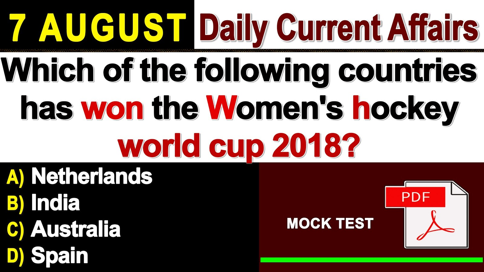 GK & Current Affairs Quiz: 7, August 2018