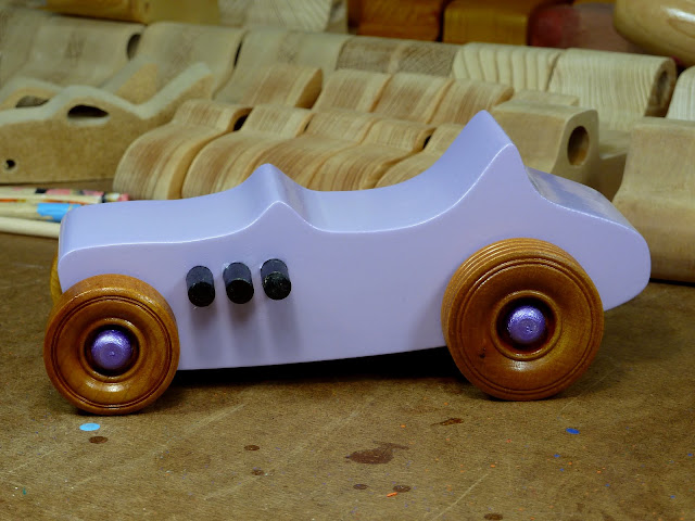 Wooden Toy Car - Hot Rod Freaky Ford - T Bucket - MDF - Lavender - Amber Shellac - Metallic Purple - Left Side