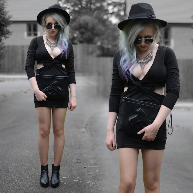 Sammi Jackson - Sammydress Black V Neck Knot Dress + Wholesale Buying Gun Clutch Bag