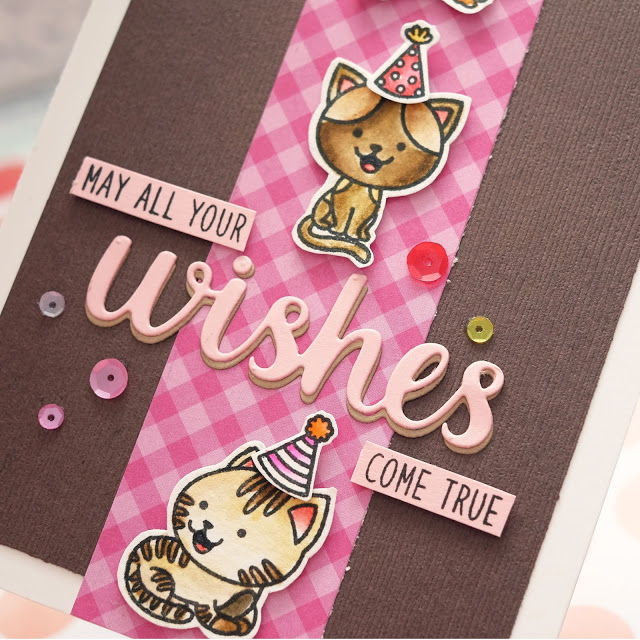 Sunny Studio Stamps: Purrfect Birthday Heartfelt Wishes Pink Brown Birthday Card by Lexa Levana