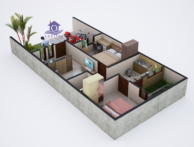Desain Aksonometri Rumah Bapak Canda di Lamongan