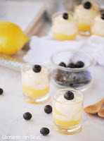 Mini vasitos de lemon curd con crema de yogur y mascarpone