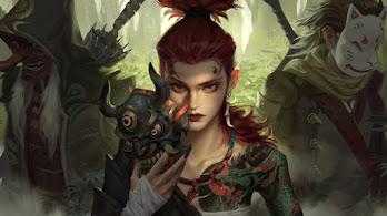 Ninja, Oni Mask, Tattoo, Fantasy, Warrior, 4K, #4.3110