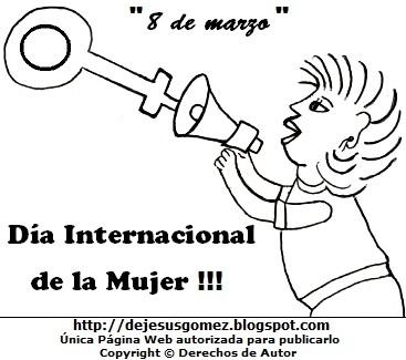 Imagen alusivo al Día Internacional de la Mujer para colorear pintar imprimir. Dibujo del Día Internacional de la Mujer de Jesus Gómez