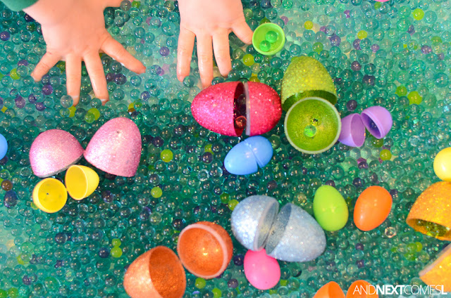 Easter sensory bin idea for kids