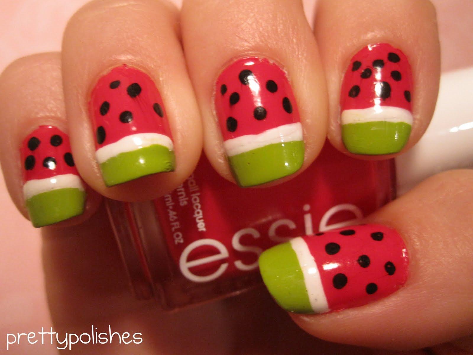 prettypolishes: Watermelon Nail Art