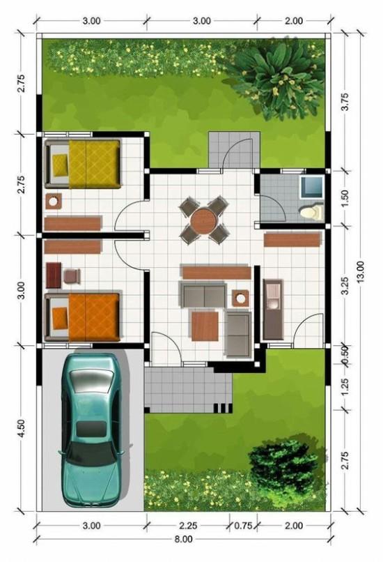 denah rumah minimalis dengan lebar 8 meter 1 lantai