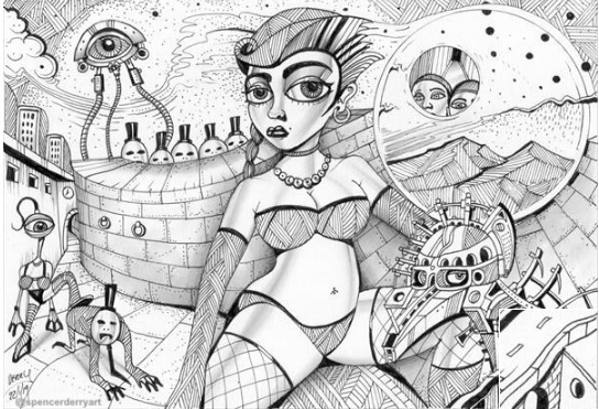 Drawing of a scantly glad female with aliens & a tripod.