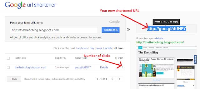 Google url shortener after link has been shortened preview