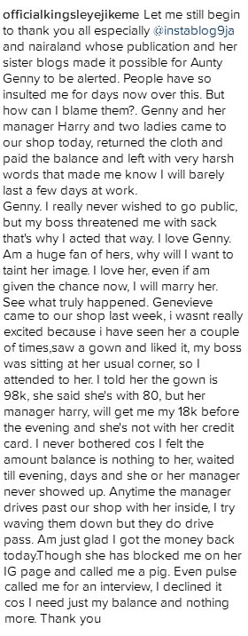 Boy who said Genevieve Nnaji is owing him 18k says she has paid her debt
