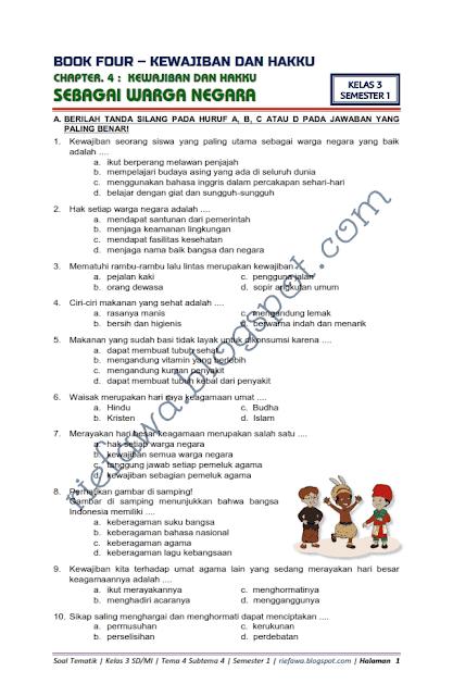 Download Soal Tematik Kelas 3 Tema 4 Subtema 4 - Kewajiban ...