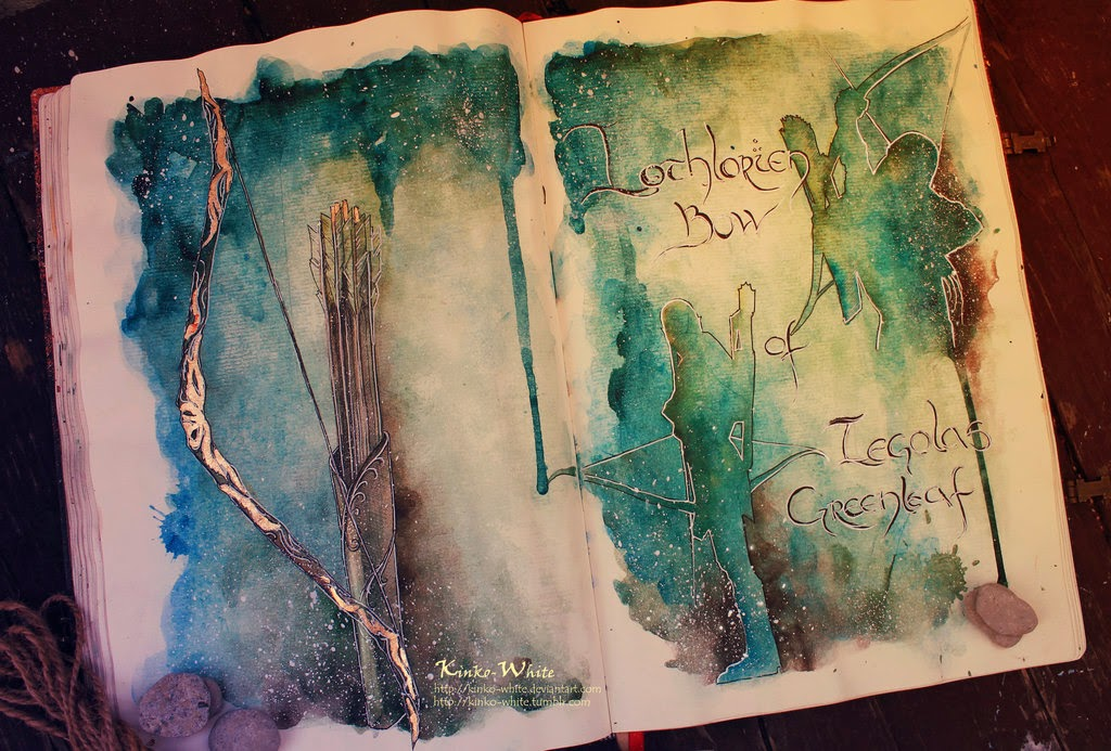 09-Lothlorien-Legolas-Greenleaf-Kinko-White-The-Hobbit-Watercolors-www-designstack-co