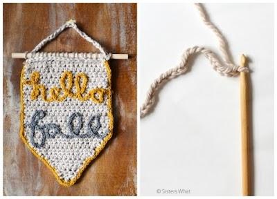 Banderín banner de crochet con palabras