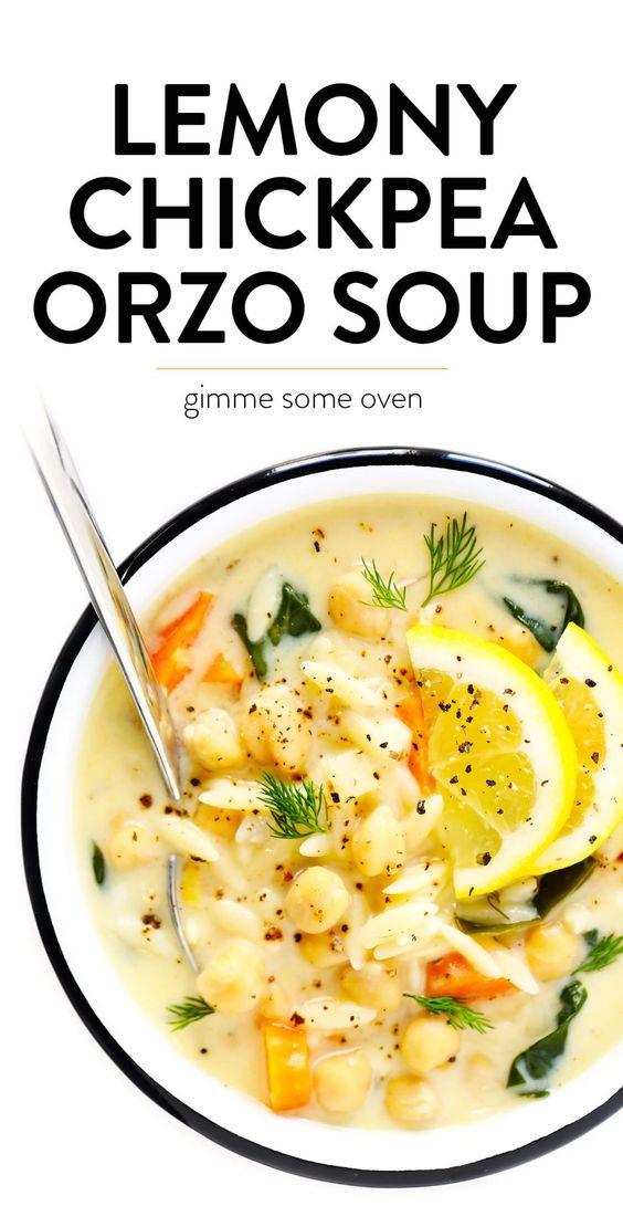 Lemon Orzo Chickpea Soup