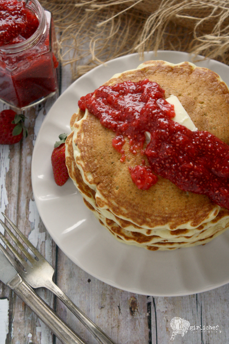 Strawberry Chia Jam with Chia Seed Pancakes