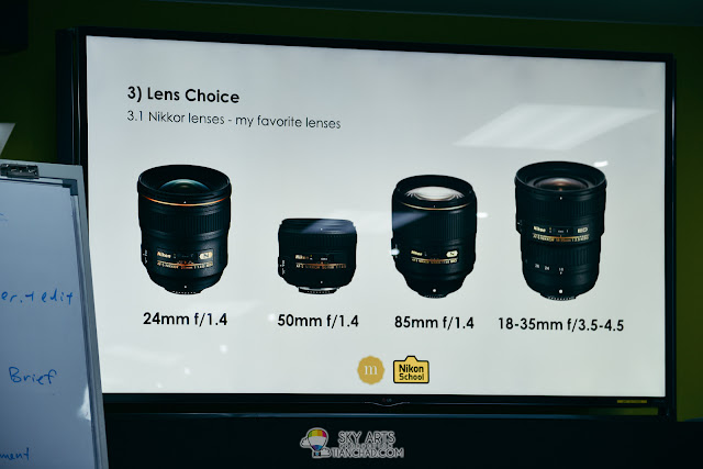 Chin Siang's favourite lens for videography are mainly Nikkor prime lens and the wide zoom lens