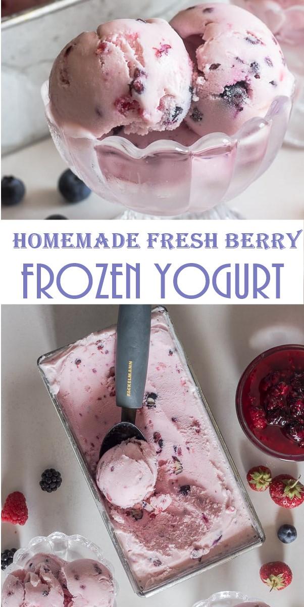 Homemade Fresh Berry Frozen Yogurt #Icecreamrecipes