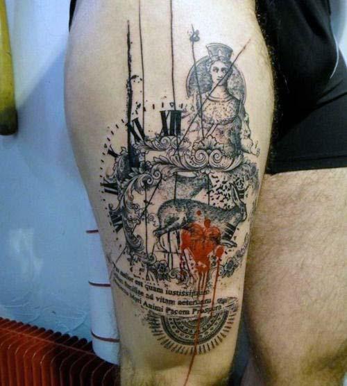 erkek üst bacak dövme modelleri man thigh tattoos 27