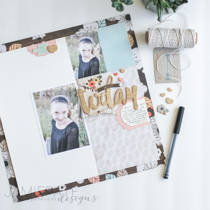 Hello Today scrapbook page using @pinkpaislee Cedar Lane Collection. Beautiful range of pattern paper to create layouts and scrapbook pages. @jamiepate