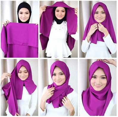 Jilbab Monochrome Terbaru Tutorial Hijab Segi Empat Modern Favorite Remaja Masa Kini
