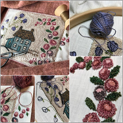 'Country House in the Spring' punch needle design by Rose Clay at ThreeSheepStudio.com