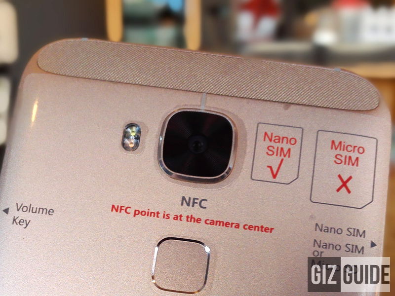 Huawei G8 camera at the back