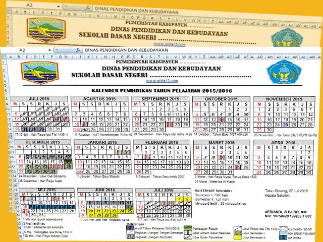 Unduh File Format Excel Kalender Pendidikan dan Perhitungan Hari Efektif Sekolah Non Kurikuler 2016